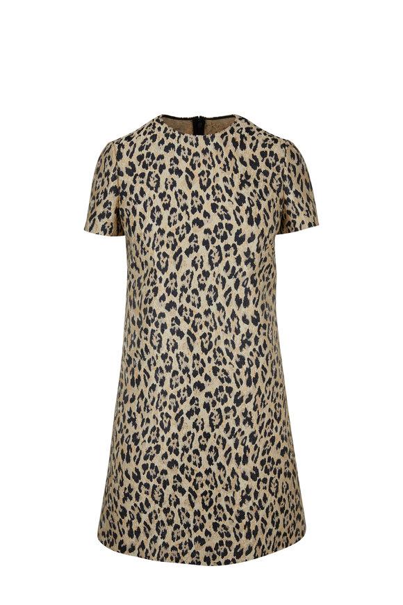 Valentino Metallic Leopard Brocade Short Sleeve Dress