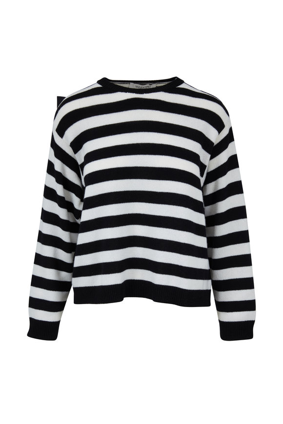 Valentino Black & White Stripe Bow Back Sweater