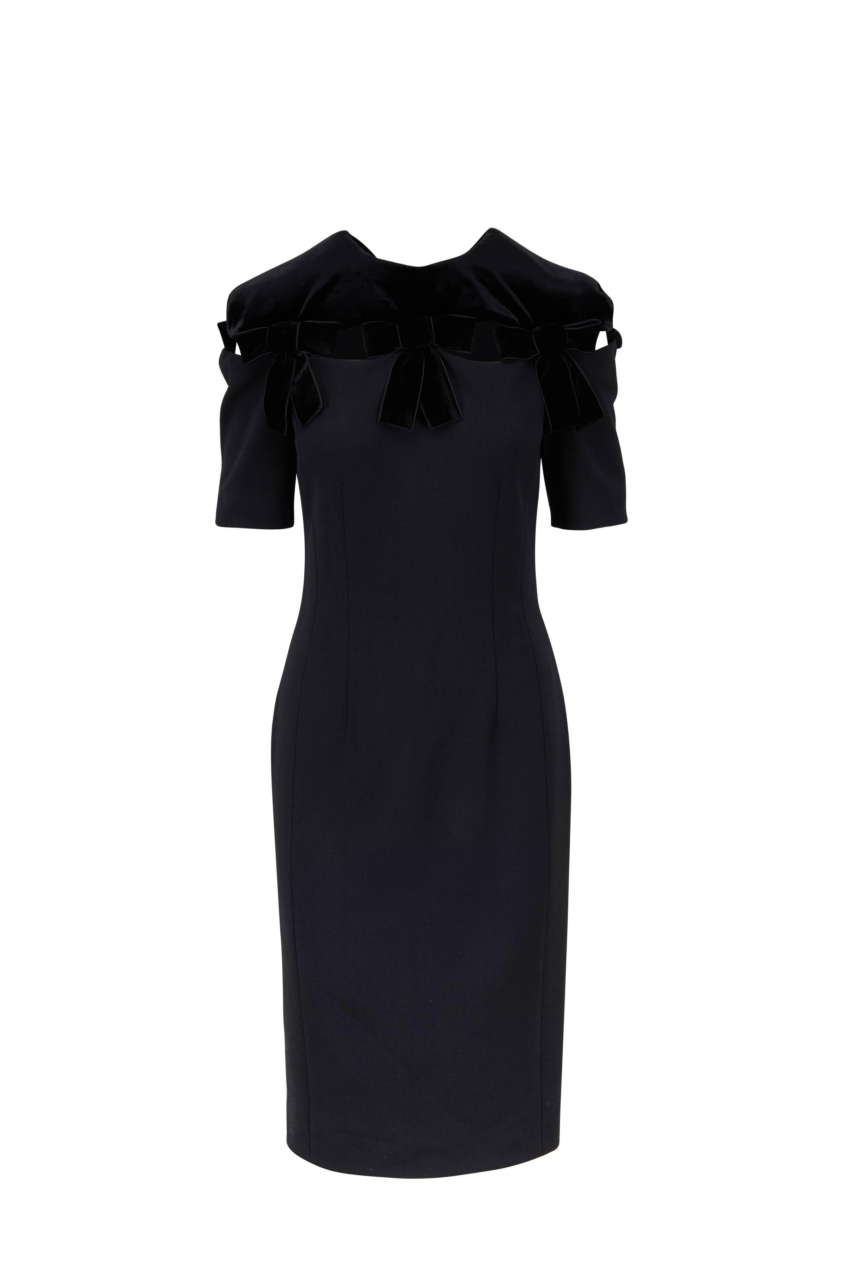 Fendi Black Wool Velvet Bow Detail Short Sleeve Dress