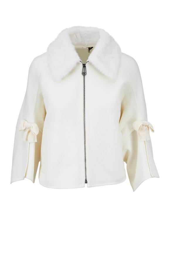 Fendi White Wool Mink Collar Zip Front Jacket