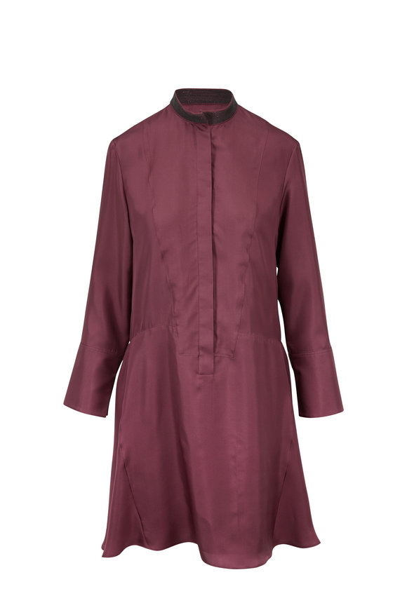 Brunello Cucinelli Plum Silk Monili Collar Button Placket Dress