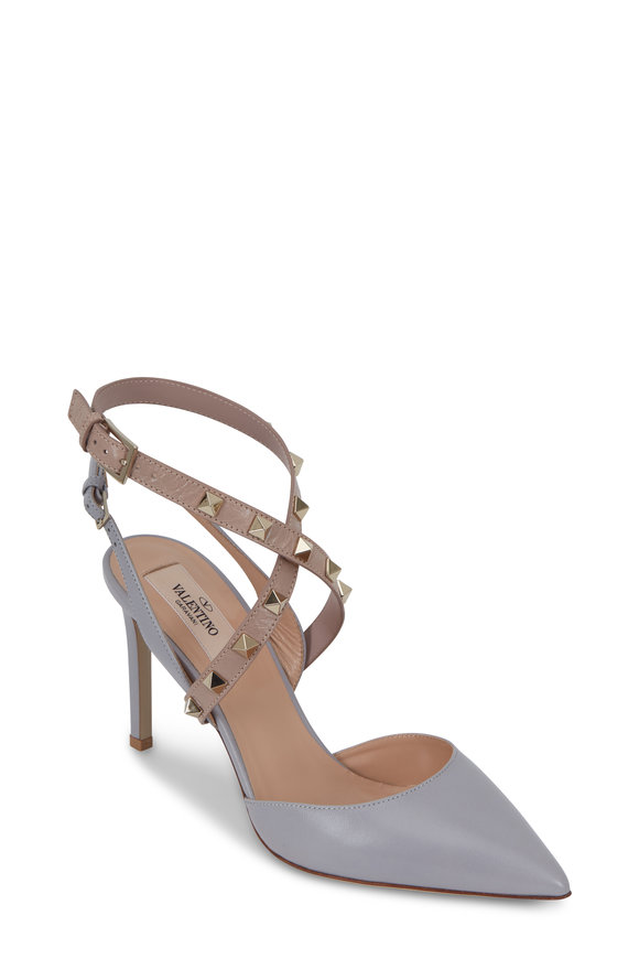 Valentino Garavani Rockstud Gray Leather Criss-Cross Slingback, 90mm