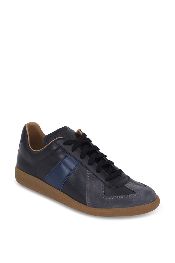 Maison Margiela Replica Black Tri-Color Leather & Suede Sneaker