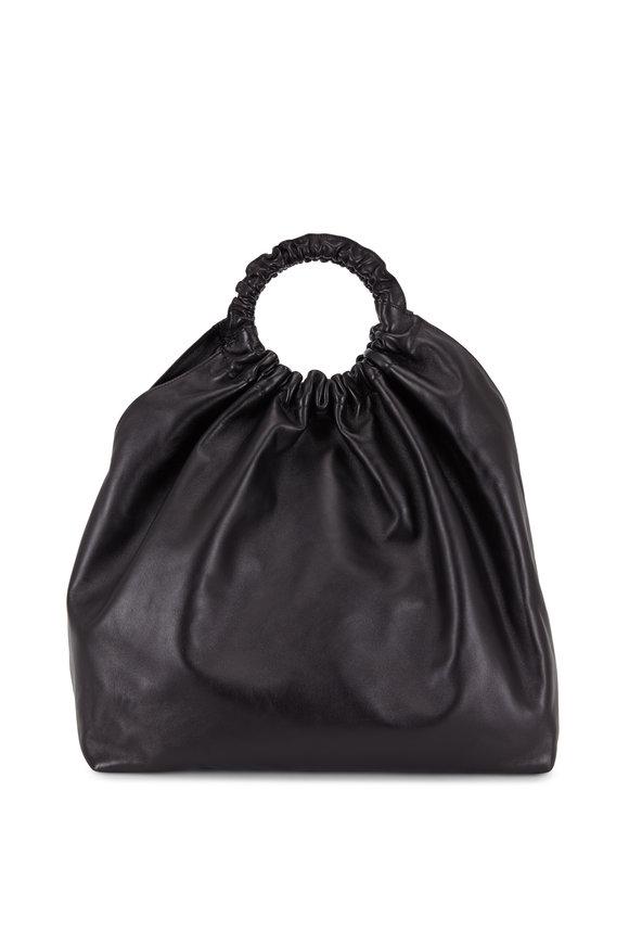 The Row Double Circle Black Nappa Leather Handbag