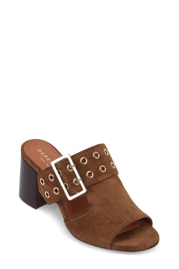 Derek Lam Thea Tobacco Suede Grommet & Buckle Sandal,  70mm