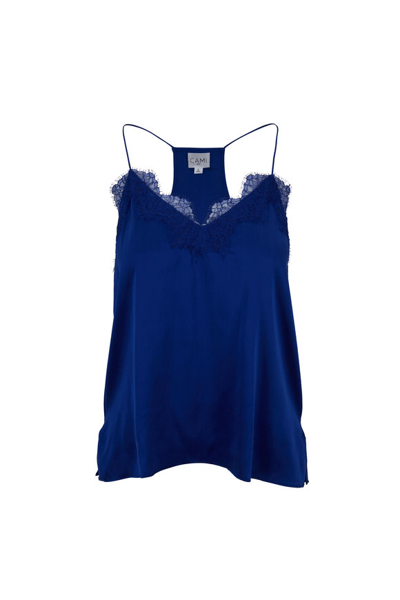 Cami NYC The Racer Azure Charmeuse Cami
