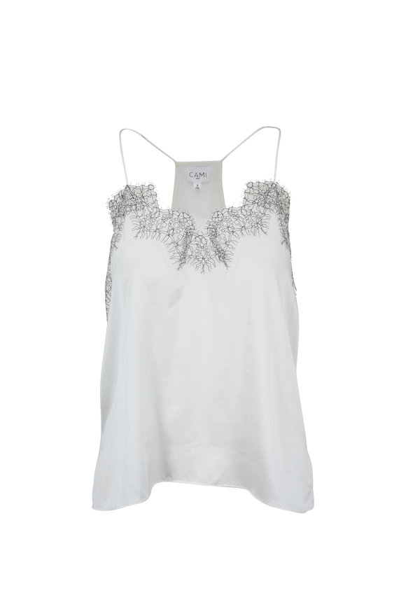 Cami NYC The Racer White Charmeuse Cami