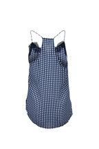 Cami NYC - The Racer Navy Gingham Charmeuse Cami