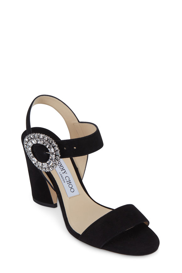 Jimmy Choo Mischa Black Suede Crystal Buckle Sandal, 85mm