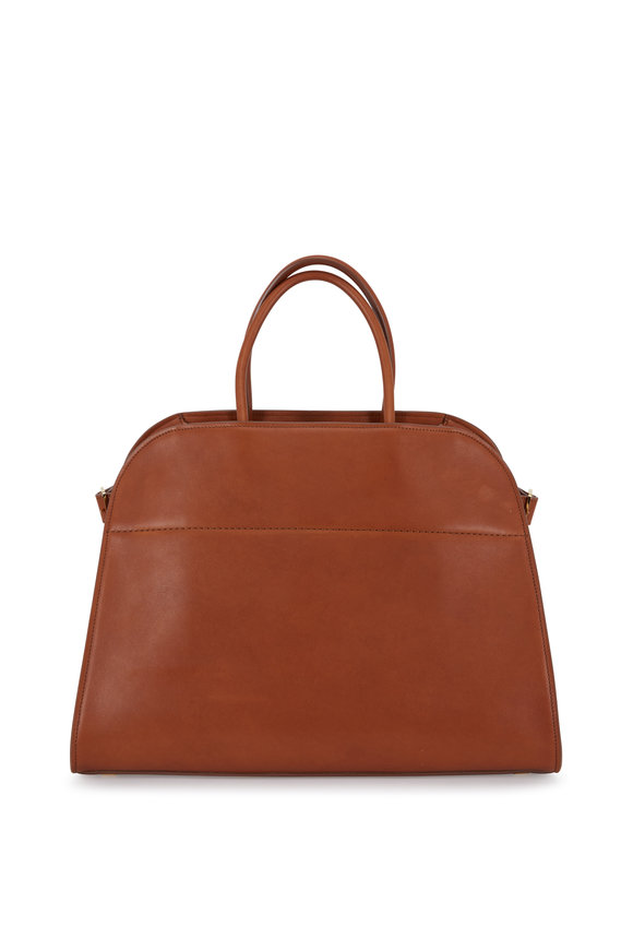 The Row Margaux 15 Saddle Grained Leather Large Tote