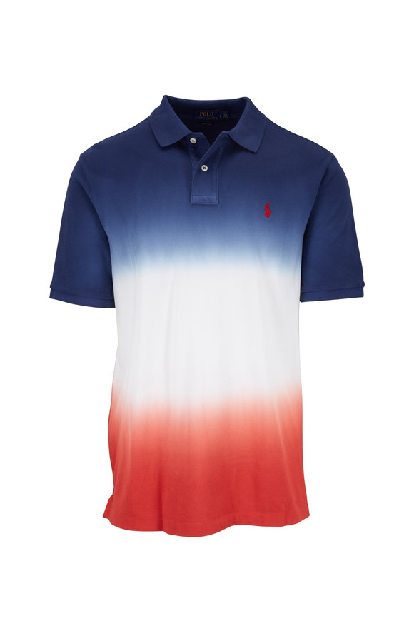 Polo Ralph Lauren Cobalt Blue, White & Red Dip-Dye Polo