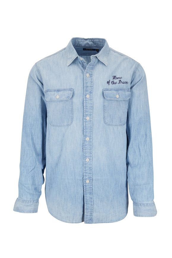 Polo Ralph Lauren Chambray Home Of The Brave Sport Shirt