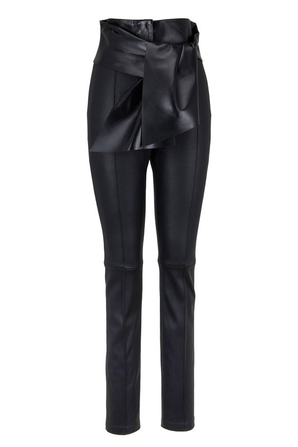 Valentino Black Stretch Leather Tie-Waist Pant