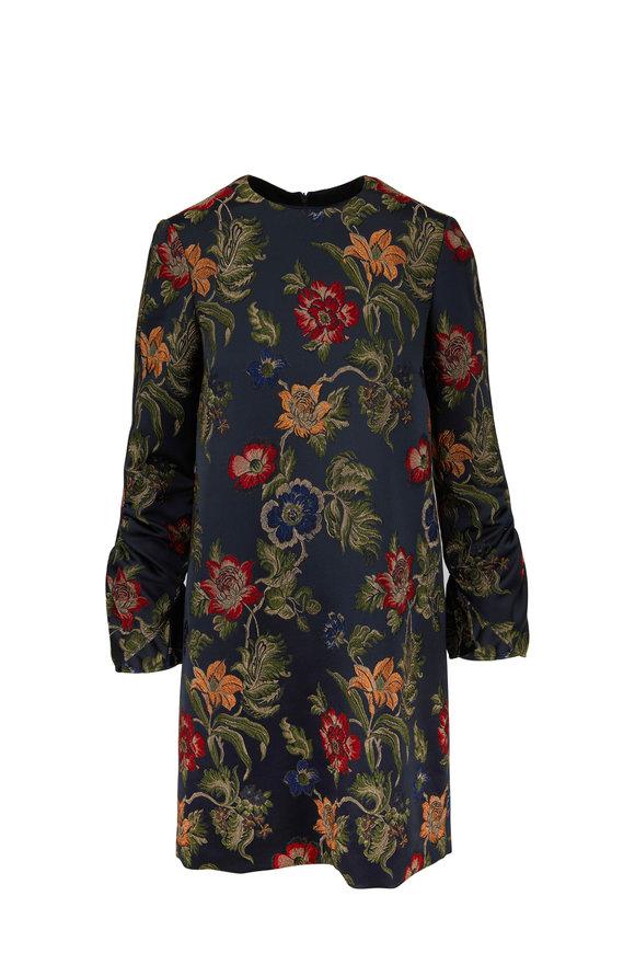 Rosetta Getty Dark Teal Floral Jacquard Ruffle Sleeve Dress