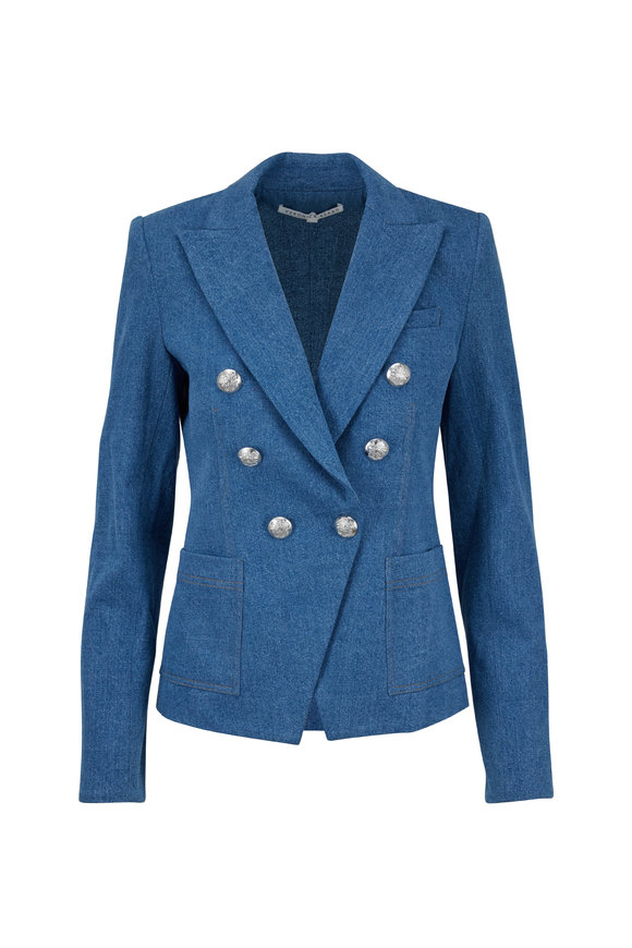 Veronica Beard Caden Mid Blue Double-Breasted Dickey Jacket