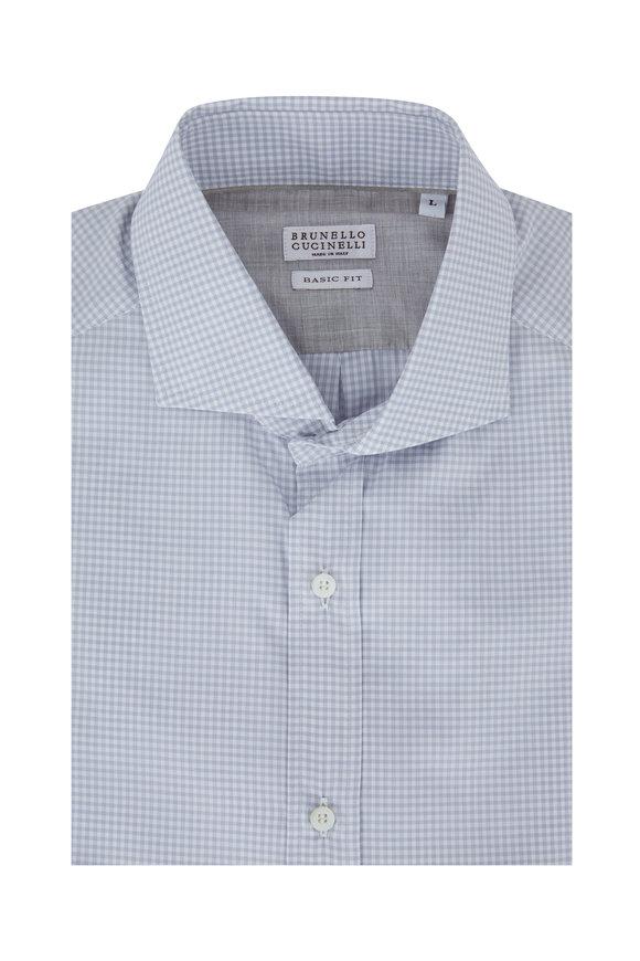 Brunello Cucinelli Light Gray Mini Check Basic Fit Sport Shirt