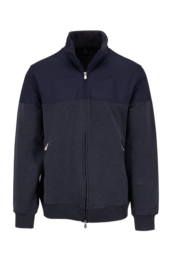 Brunello Cucinelli Gray Mix Media Full Zip Jacket
