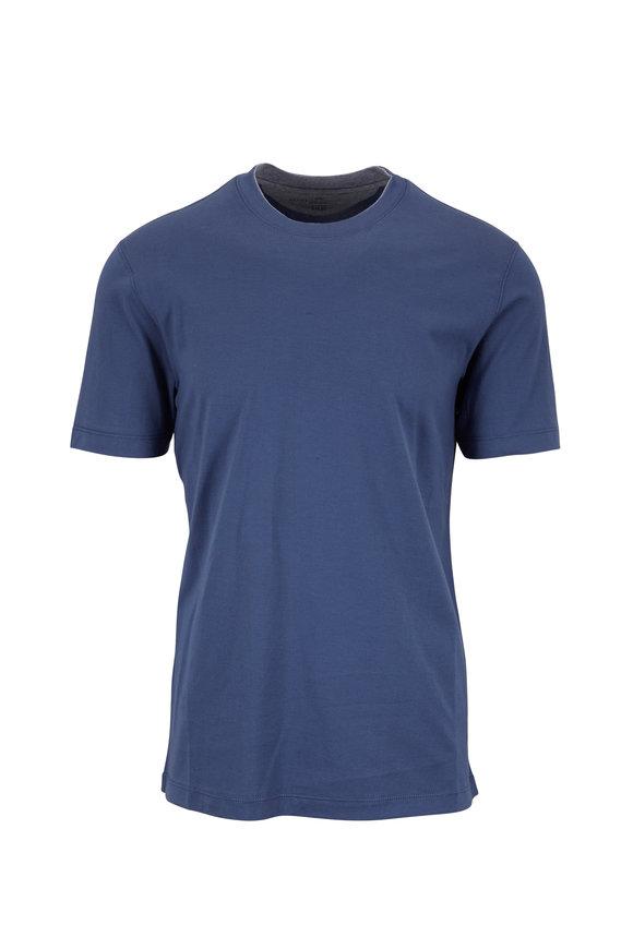 Brunello Cucinelli Blue Cotton Slim Fit T-Shirt