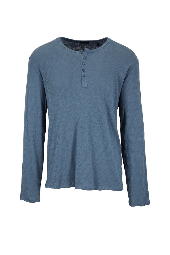 A T M Storm Blue Destroyed Wash Henley