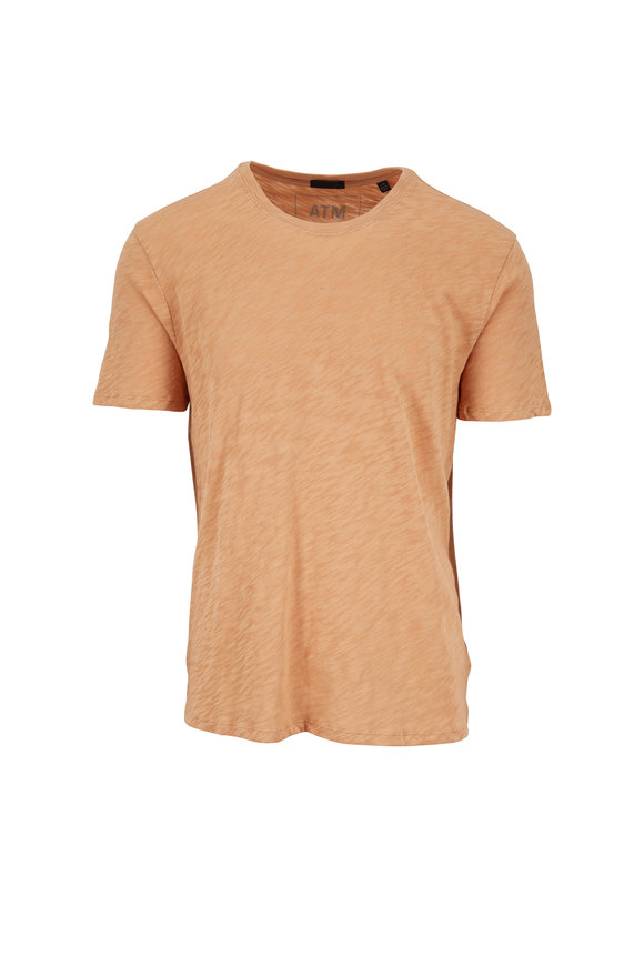A T M Melon Orange Slub Cotton T-Shirt