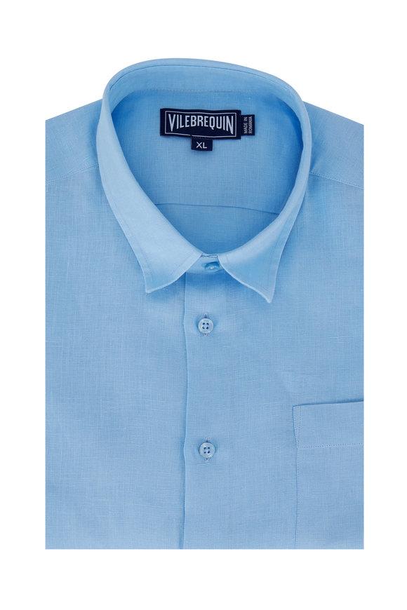 Vilebrequin Light Blue Linen Sport Shirt