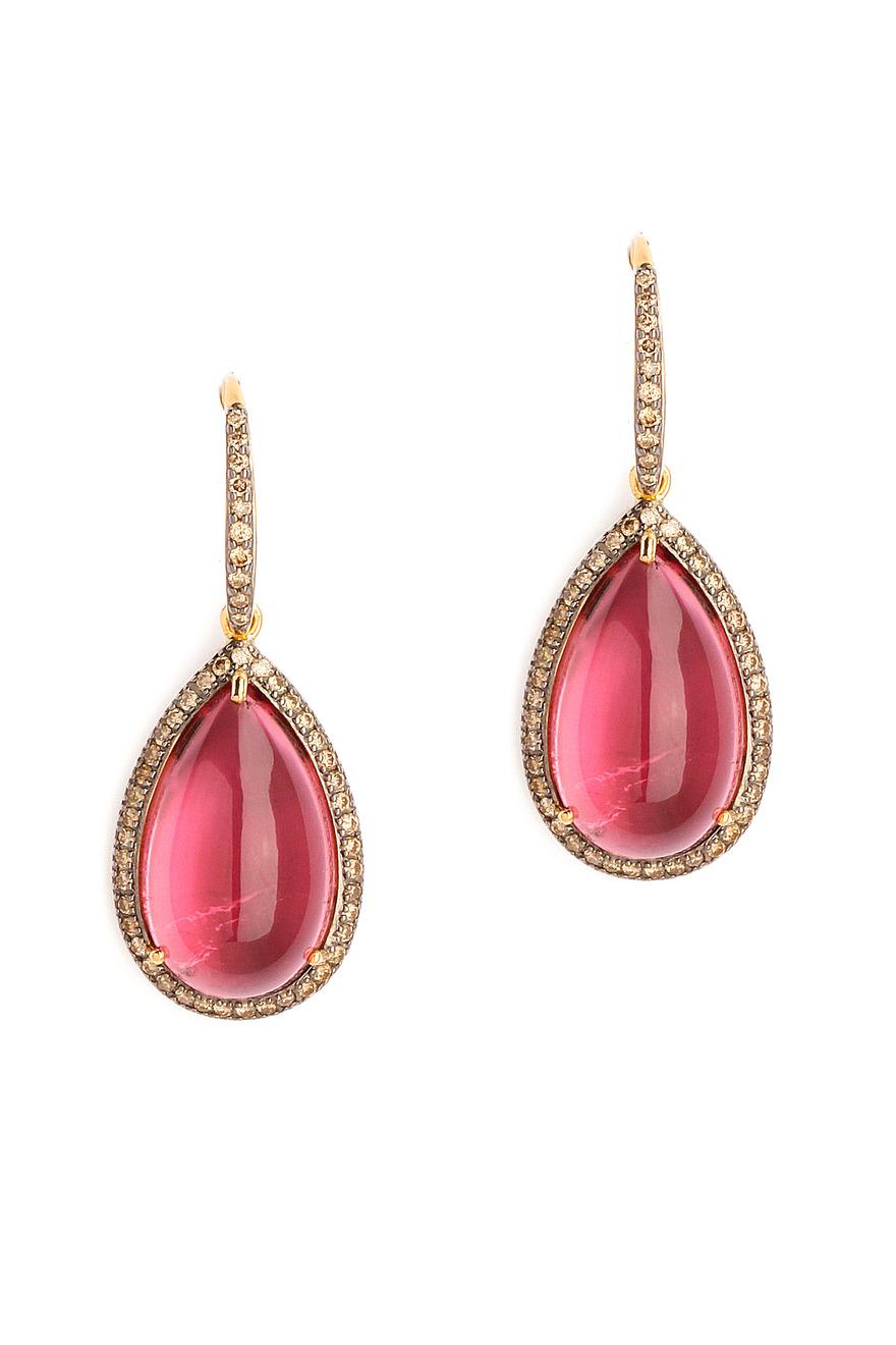 Pink Tourmaline Tear Drop Earrings with Champagne Diamonds