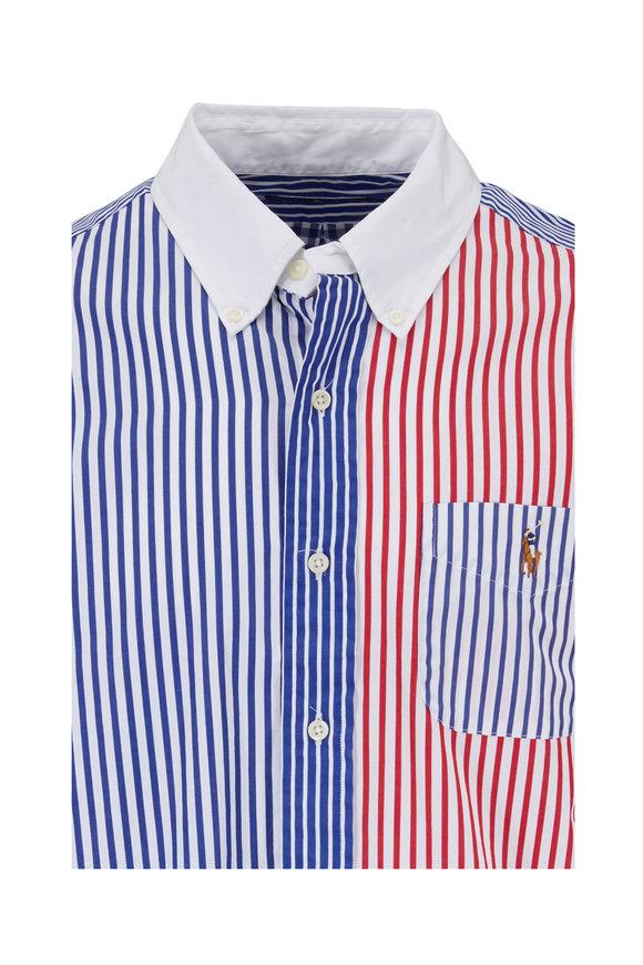 Polo Ralph Lauren Blue & Red Striped Sport Shirt