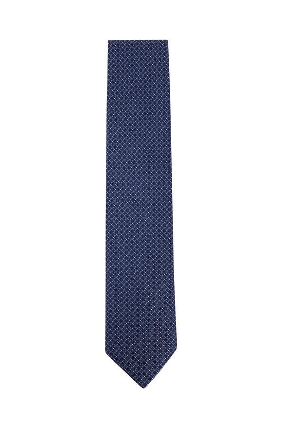 Brioni Slate Blue Geometric Silk Necktie