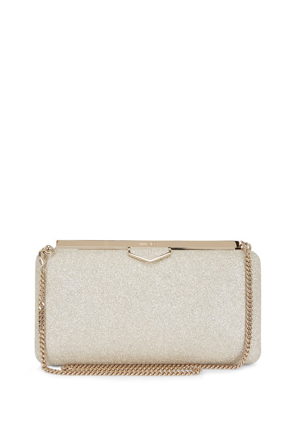 Jimmy Choo Ellipse Platinum Ice Dusty Glitter Clutch