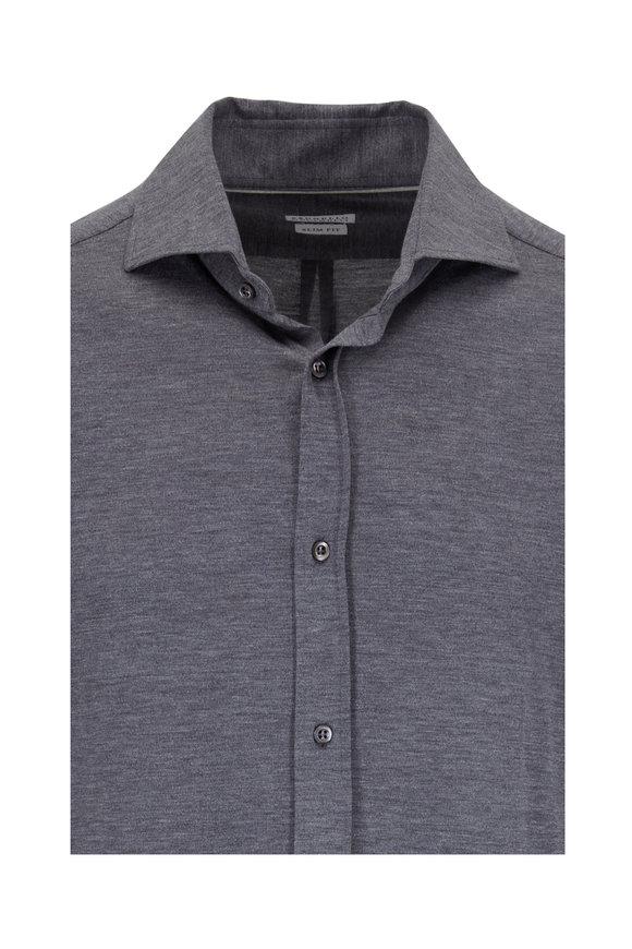 Brunello Cucinelli Gray Silk & Cotton Long Sleeve Polo