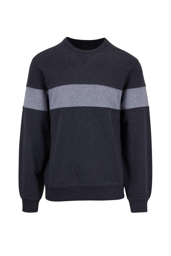 Brunello Cucinelli Charcoal Gray Stripe Crewneck Sweatshirt