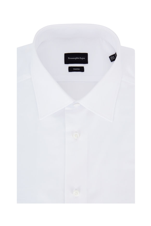 Ermenegildo Zegna Trofeo Solid White Dress Shirt