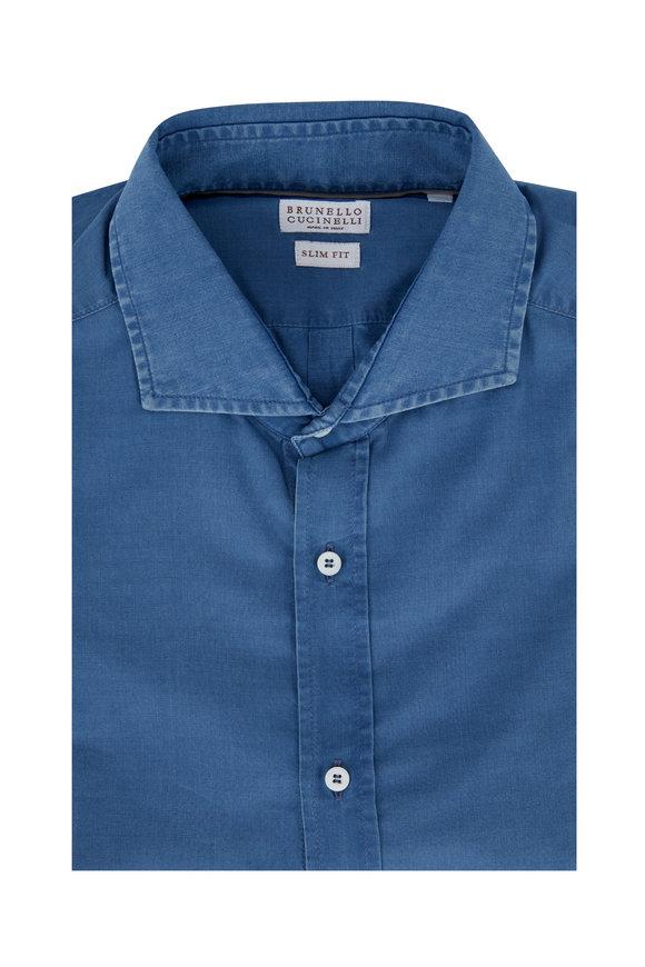 Brunello Cucinelli Chambray Slim Fit Sport Shirt
