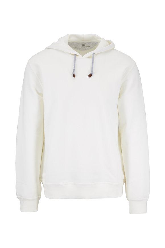 Brunello Cucinelli White Stretch Cotton Hoodie