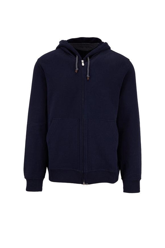 Brunello Cucinelli Navy Stretch Cotton Full-Zip Hoodie