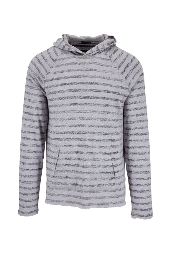 A T M Heather Gray & Black Cotton Painted Stripe Hoodie