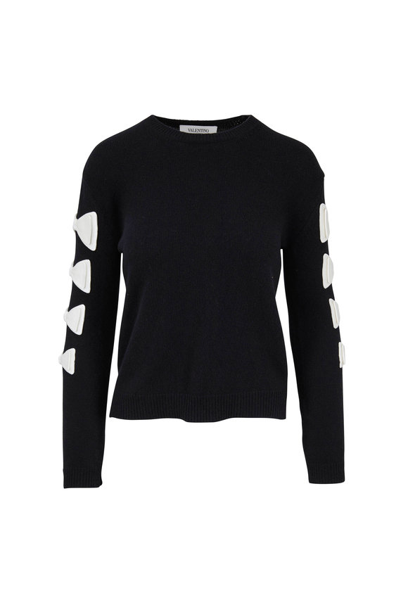 Valentino Black Wool & Cashmere Bow Detail Sweater