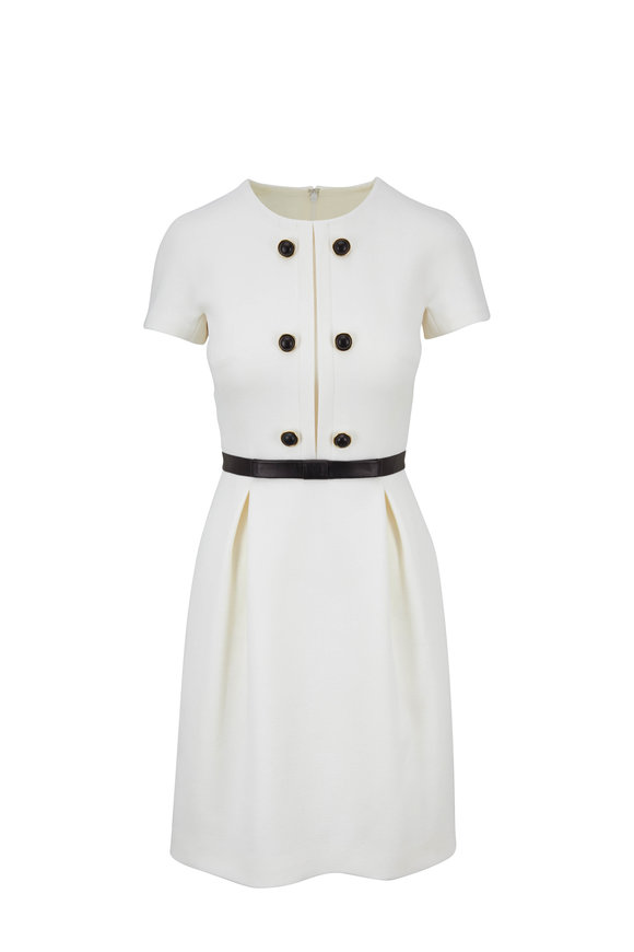 Michael Kors Collection White Stretch Bouclé-Crepe Shift Dress