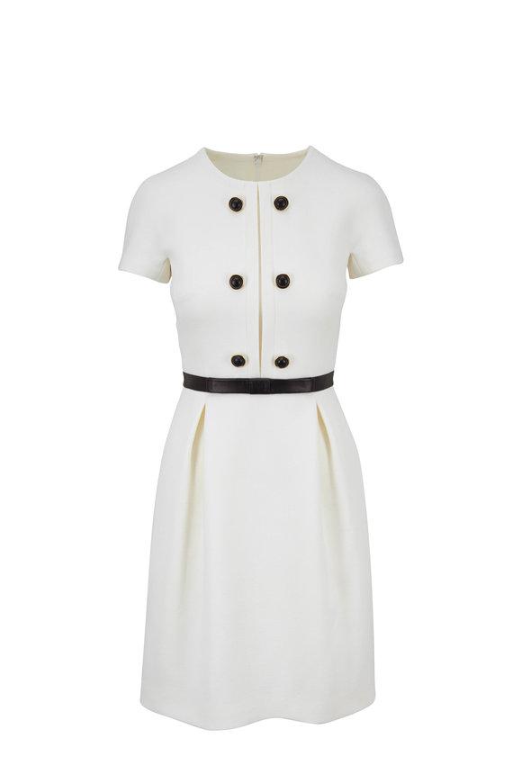 Michael Kors Collection White Stretch Bouclé-Crepe Shift Dress