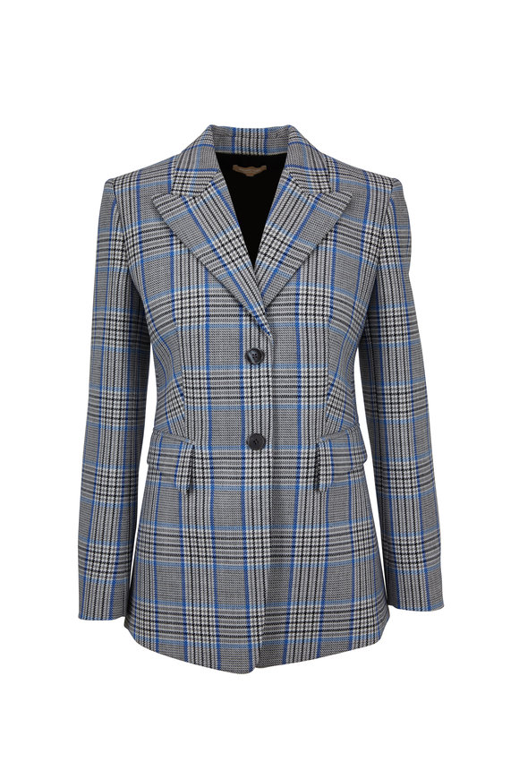 Michael Kors Collection Royal Blue Virgin Wool Plaid Blazer
