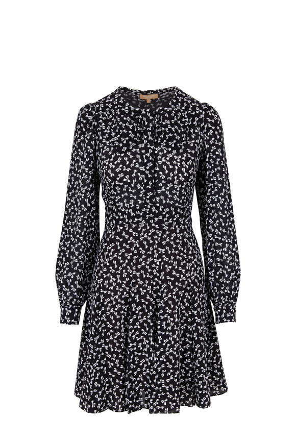 Michael Kors Collection Black & White Mini Bow Printed Dress