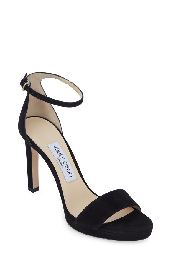 Jimmy Choo Misty Black Suede Platform Sandal, 100mm