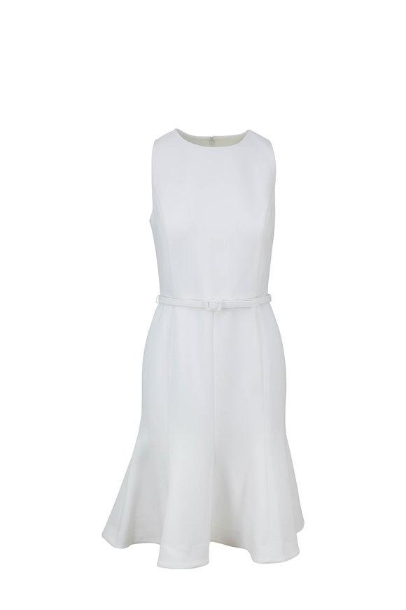Oscar de la Renta White Crêpe Fluted Hem Sleeveless Dress