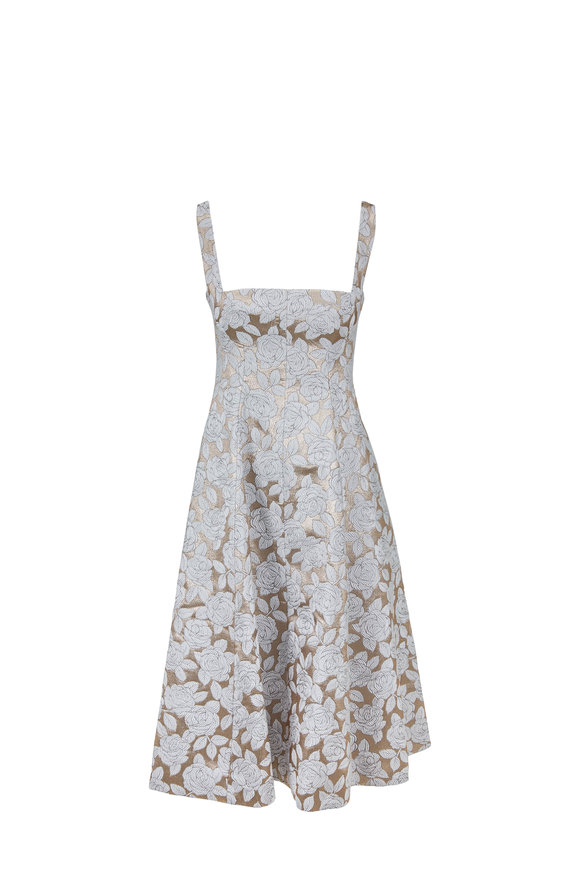 Lela Rose Champagne Metallic Floral Matelassé Dress