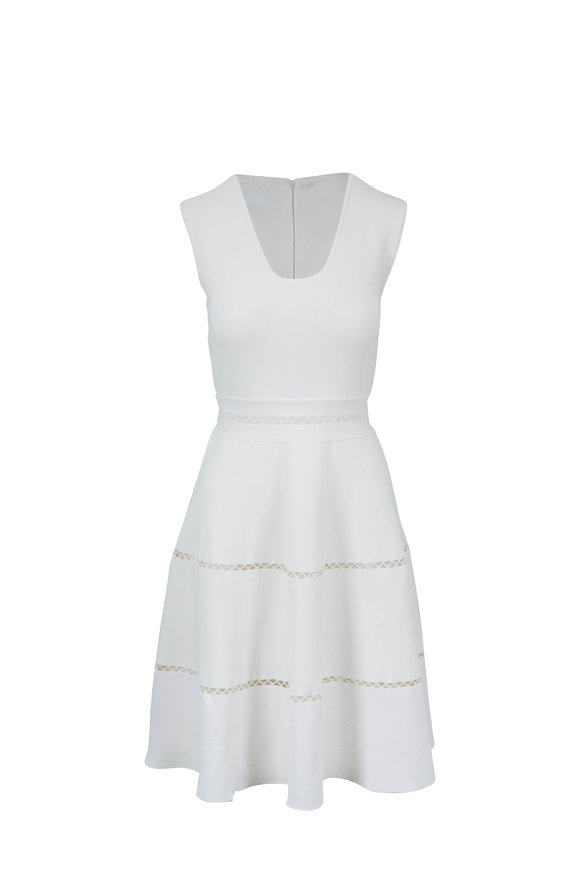 Lela Rose Ivory Knit Crochet Detail Sleeveless Dress