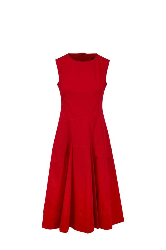 Derek Lam Red Cotton Faille Fit & Flare Sleeveless Dress