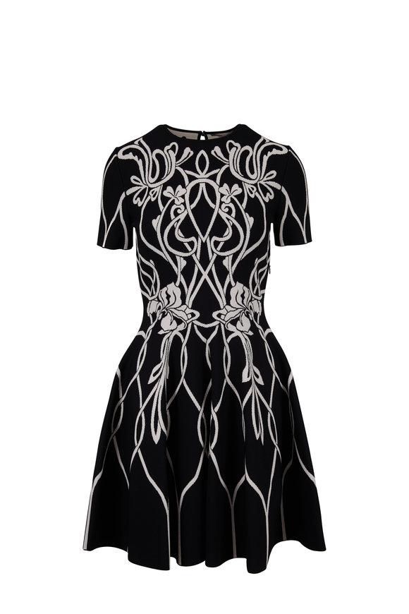 Alexander McQueen Black & White Nouveau Jacquard Fit & Flare Dress