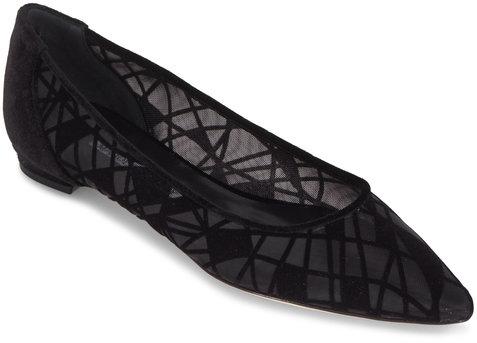 Manolo Blahnik Tittola Black Velvet & Mesh Art Flat
