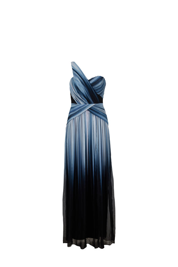 Pamella Roland Sapphire Ombre Pleated One Shoulder Silk Gown
