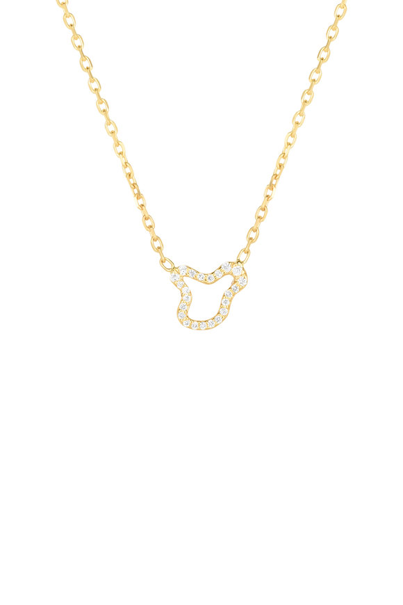 Amanda Pearl 14K Yellow Gold Ripple Full Pavé Diamond Necklace